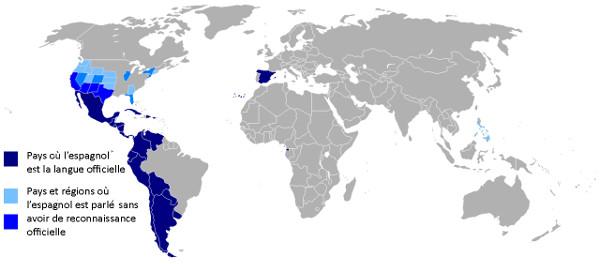 Carte des locuteurs de l'espagnol
