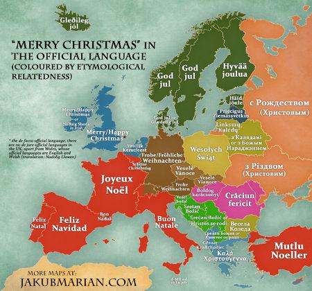 Joyeux Noël dans les langues d'Europe