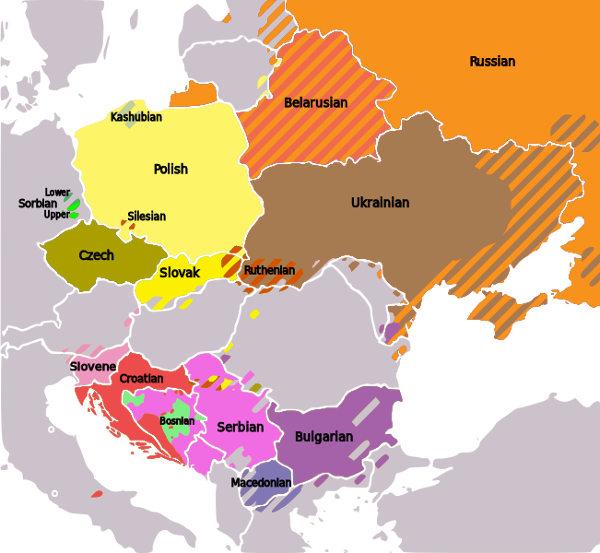 Répartition du slovaque et des langues slaves