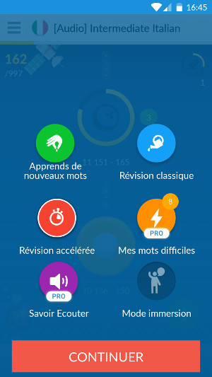 Interface de Memrise