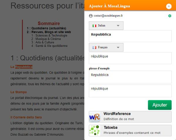 MosaLingua Web - MosaDiscovery