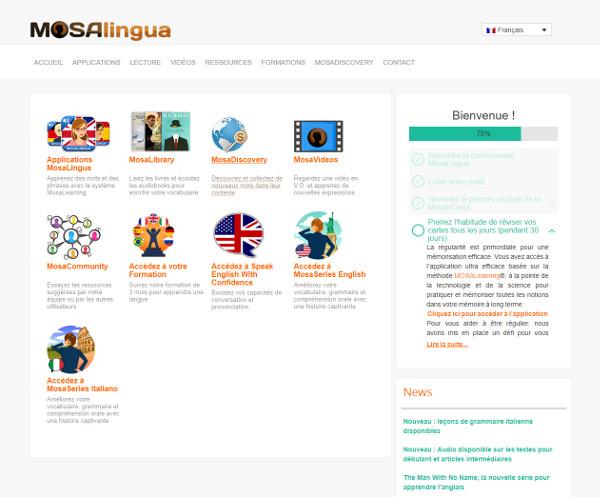 MosaLingua Web : accueil