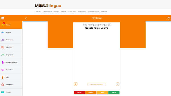 MosaLingua Web : l'application